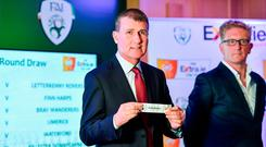 Ireland U21 Manager Stephen Kenny draws Bohemians during the FAI Cup first round draw at the Aviva Stadium in Dublin. Photo: Sam Barnes/Sportsfile
