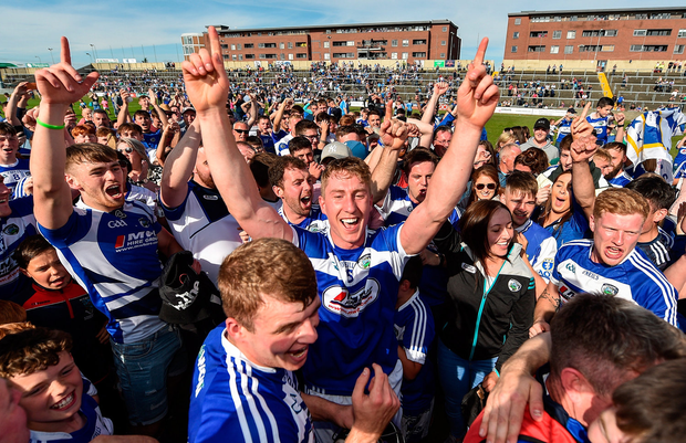Ross King celebrates the Laois victory over Dublin in O'Moore Park in Portlaoise. Photo: Sam Barnes/Sportsfile