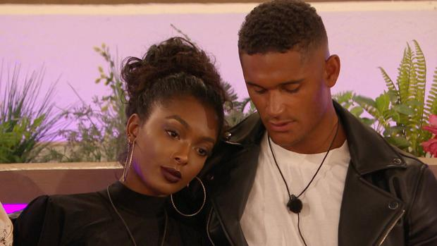 From ITV Studios Love Island: SR5: Ep31 on ITV2 Pictured: The Islander's gather around the fire pit for the dumping: Danny and Jourdan.