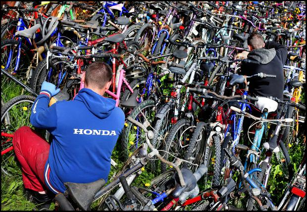 Prisoners at Loughan House Open Centre in Cavan repairing second hand bicycles for School Bikes Africa Rotary Ireland at the prison. Pic Steve Humphreys