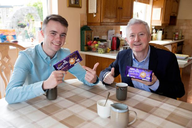 Louis Walsh surprises Callum Clogher at home in Roscommon, Ireland. Credit: Brian Farrell/PA Wire