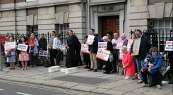 The vigil outside of Holles Street Hospital Photo: Catholic Arena/Twitter