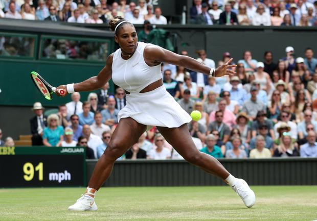 Serena Williams of the US in action during her Wimbledon quarter-final match against fellow American Alison Riske. Photo: Reuters/Hannah McKay