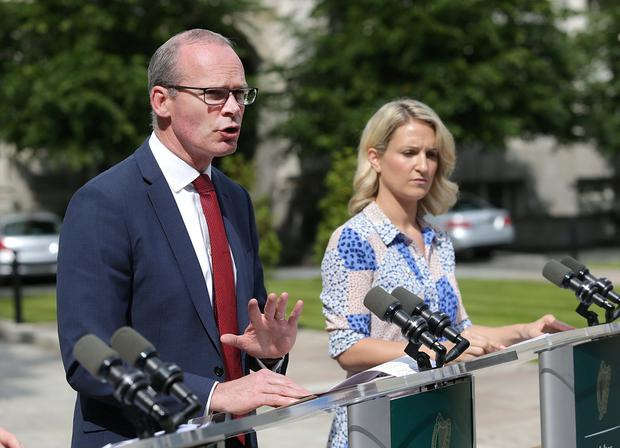 Tanaiste, Simon Coveney, and Helen McEntee TD, Minister for European Affairs pictured at government buildings speaking to journalists . Picture credit; Damien Eagers / INM
