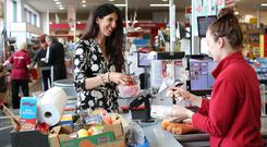 No so fantastic plastic: Kathy Donaghy tries to go plastic-free with her supermarket shop. Photo: Lorcan Doherty