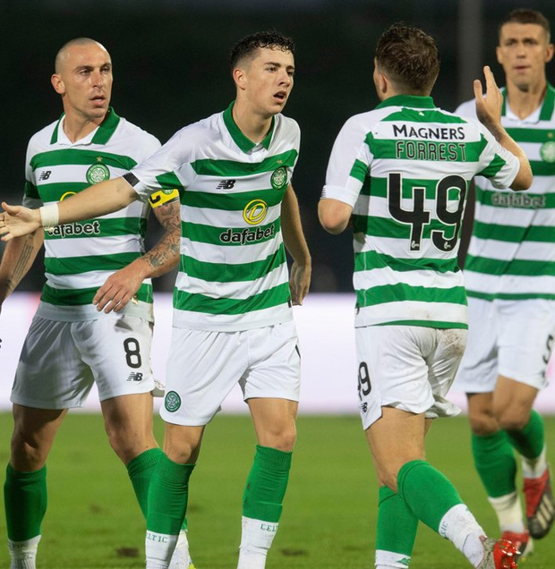 Celtic's Mikey Johnston, centre, celebrates his equaliser with team-mates during the Champions League win over FK Sarajevo