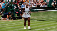 Serena Williams celebrates beating Alison Riske during their women's singles quarter-final match on day eight of the 2019 Wimbledon Championships. Photo: AFP/Getty Images