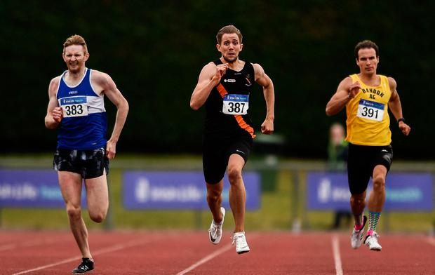 Thomas Anthony Pitkin of Clonliffe Harriers AC Dublin, on his way to winning the U23 400m final during the Irish Life Health Junior and U23 Outdoor Track and Field Championships in Tullamore last weekend. Photo by Sam Barnes/Sportsfile