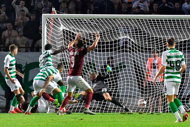 Sarajevo take the lead against Celtic. Photo: AFP/Getty Images