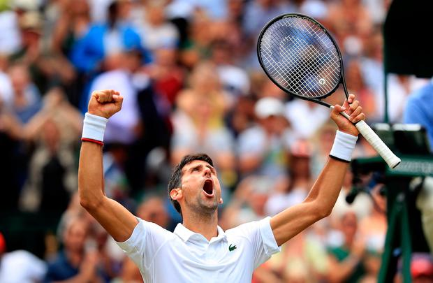 Novak Djokovic celebrates beating David Goffin on day nine of the Wimbledon Championships at the All England Lawn Tennis and Croquet Club, Wimbledon. Photo: Adam Davy/PA Wire