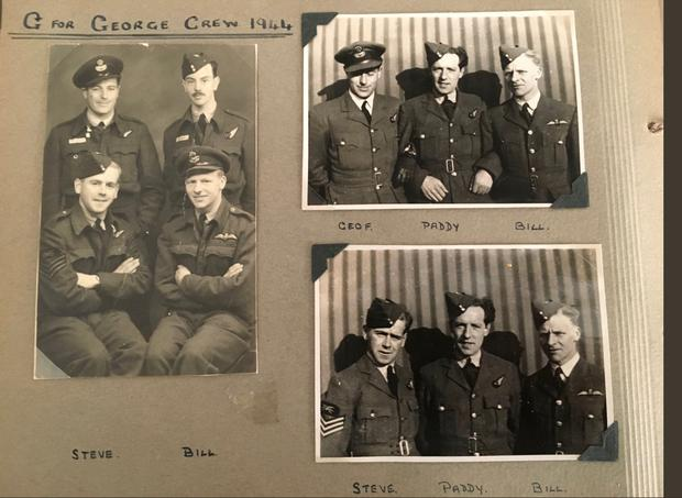 Paddy Moore pictured with crewmates from the RAF 49 Squadron