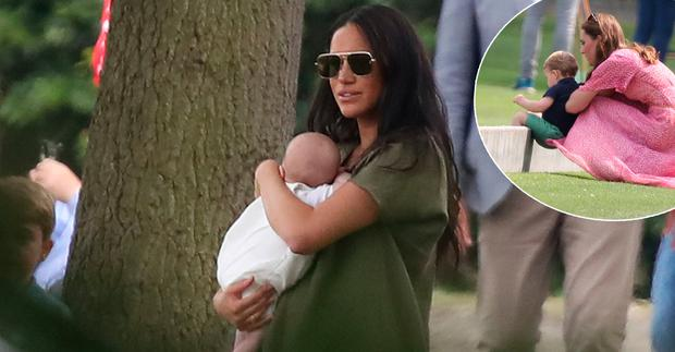 The Duchess of Sussex holding her son Archie as they attend the King Power Royal Charity Polo Day at Billingbear Polo Club, Wokingham, Berkshire, centre, and Kate Middleton with Prince Louis, inset