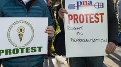 A placard at a previous PNA demonstration in Dublin. Photo: Doug O'Connor