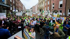 Protesters during a farmers protest over the Mercosur Deal outside Leinster House, Dublin. Photo: Gareth Chaney, Collins