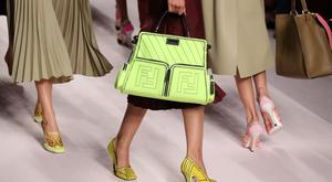 A model, bag detail, walks the runway at the Fendi show during Milan Fashion Week Spring/Summer 2019 on September 20, 2018 in Milan, Italy. (Photo by Andreas Rentz/Getty Images)