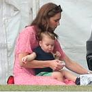 The Duchess of Cambridge, Prince George, Princess Charlotte and Prince Louis attend the King Power Royal Charity Polo Day at Billingbear Polo Club, Wokingham, Berkshire, centre, inset, Meghan and Harry with baby Archie