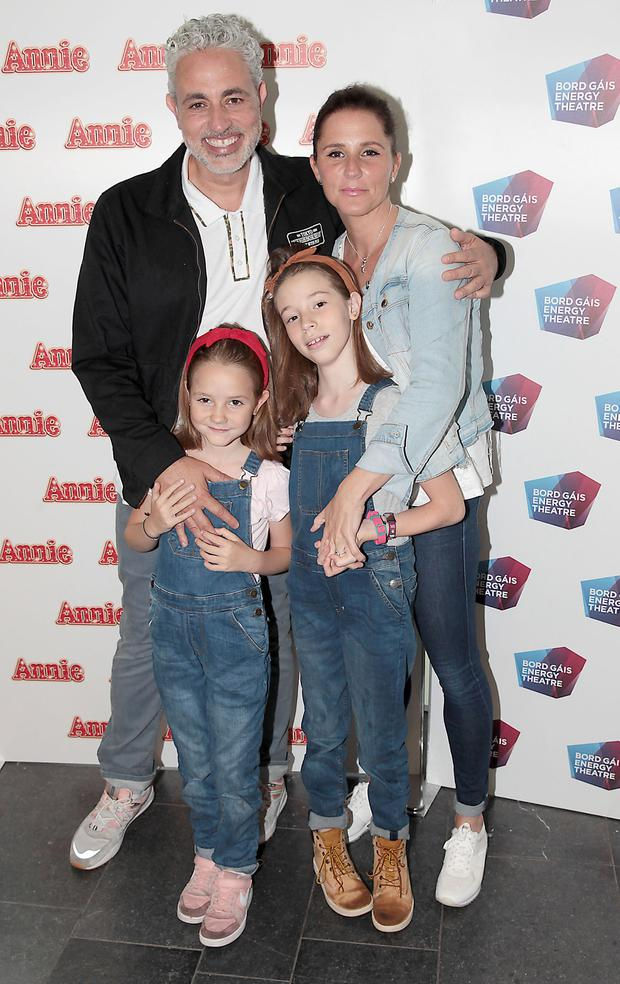 Baz Ashmawy and Tanja Evans with children Hanna and Mahy at the opening night of Annie the Musical at the Bord Gáis Energy Theatre, Dublin. Picture: Brian McEvoy Photography