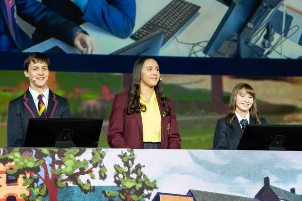 Pictured presenting their cross-community project in San Diego are (L-R): Leon Van Der Westhuizen, Lurgan Junior High School; Aiesha Mouhsine, St. Ronan's College; and Hannah Trew, Lurgan College.