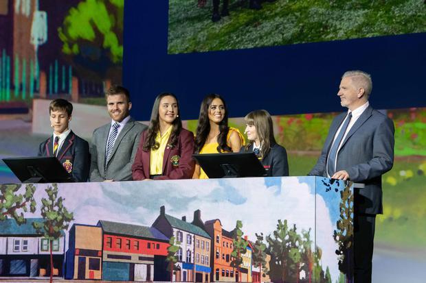 Pictured presenting their cross-community project on the main stage in San Diego are (L-R): Leon Van Der Westhuizen, student, Lurgan Junior High School; Robert Logan, teacher, Lurgan Junior High School; Aiesha Mouhsine, student, St. Ronan's College; Hannah Murtagh, teacher, St. Ronan's College; Hannah Trew, student, Lurgan College; and Alistair Hamill, teacher, Lurgan College.