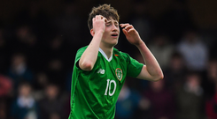 Louie Barry of Republic of Ireland during the U16 Victory Shield match between Republic of Ireland and Scotland