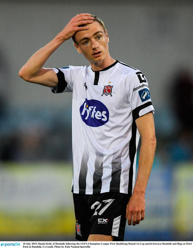 Daniel Kelly of Dundalk following the UEFA Champions League First Qualifying Round 1st Leg match between Dundalk and Riga at Oriel Park in Dundalk, Co Louth. Photo by Eóin Noonan/Sportsfile