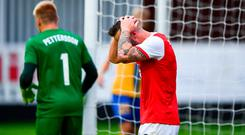 Michael Drennan of St Patricks Athletic reacts after a missed chance during the UEFA Europa League First Qualifying Round 1st Leg match between St Patrick's Athletic and IFK Norrköping at Richmond Park in Inchicore, Dublin. Photo by Sam Barnes/Sportsfile