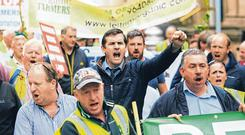 Anger: Farmers protesting against the Mercosur deal outside Leinster House, Dublin. Photo: Gareth Chaney/Collins