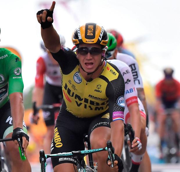 Dutch rider Dylan Groenewegen of Jumbo-Visma took the stage victory. Photo: AFP