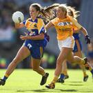 Longford's multi-talented star Michelle Farrell (left) is looking forward to the challenge of taking on Wicklow tomorrow