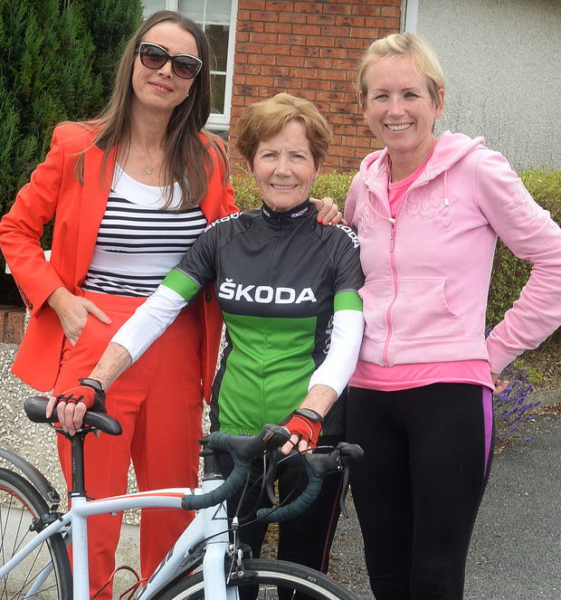 'Adrenaline junkie': Annette Callan (83) with her daughters Deirdre and Yvonne at her home in Ardee, Co Louth. Photo: Seamus Farrelly