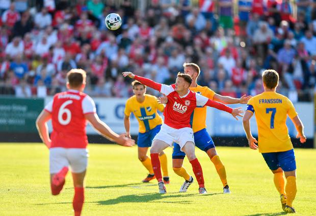 Conor Clifford of St Patrick's Athletic in action against Alexander Fransson of IFK Norrköping during the Europa League match at Richmond Park. Pic: Sportsfile