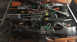 Collected firearms are seen at Riccarton Racecourse on July 13, 2019 in Christchurch, New Zealand (Photo by New Zealand Police/Getty Images)