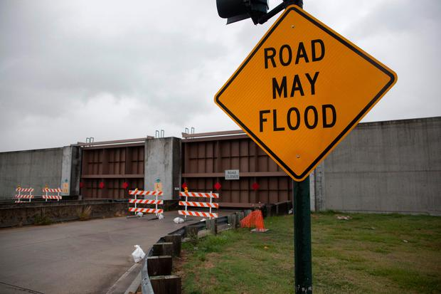 Lake Pontchartrain flood-gates are seen closed ahead of Tropical Storm Barry in New Orleans, Louisiana (Photo by Seth HERALD / AFP)SETH HERALD/AFP/Getty Images
