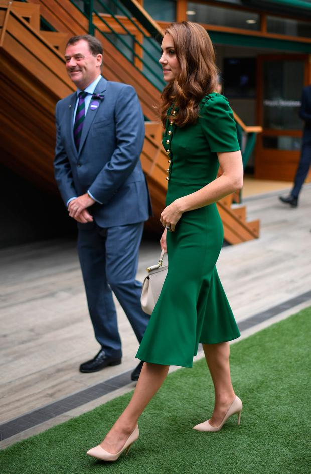The Duchess of Cambridge arrives for the Women's Final on day twelve of the Wimbledon Championships at the All England Lawn Tennis and Croquet Club, Wimbledon. Saturday July 13, 2019. Victoria Jones/PA Wire