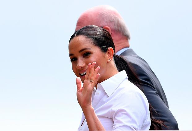The Duchess of Sussex arrives on day twelve of the Wimbledon Championships at the All England Lawn Tennis and Croquet Club, Wimbledon