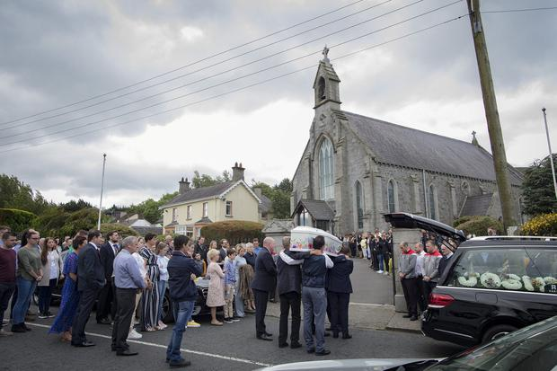 13/7/19 The funeral of 10 year old Josh Hill who tragically drowned in a hot tub at his home in Carlingford, Co Louth earlier this week. Picture: Arthur Carron