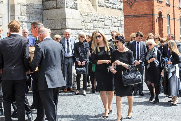 Alma Carroll-Ryan and her daughter Jessica at the funeral mass of her husband Arthur Ryan at the Church of the Sacred Heart, Donnybrook. Pic:Mark Condren 13.7.2019