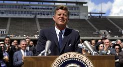 JFK giving his famous speech