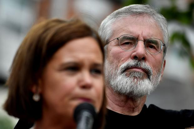 Gerry Adams, who was interviewed by gardai about meeting role, with Sinn Fein leader Mary Lou McDonald. Photo: Getty