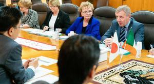 Minister for Agriculture Food & Marine, Michael Creed meeting with Japans Minister for Health Labour and Welfare Minister Katsunobu Kato in 2017.