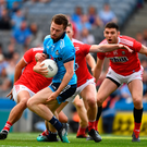 Jack McCaffrey of Dublin prepares to shoot past Seán White of Cork to score the game's opening goal in the eleventh minute during the All-Ireland SFC Super 8s Group 2 clash at Croke Park in Dublin. Photo: Ray McManus/Sportsfile