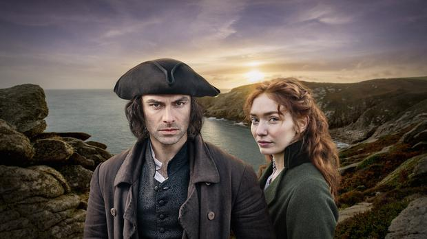 Aidan Turner and Eleanor Tomlinson in Poldark (Craig Hardie/Mammoth Screen/PA)