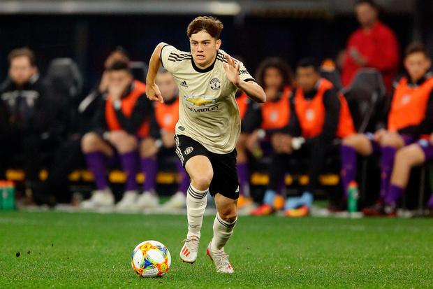 Daniel James of Manchester United looks to pass the ball during the match between the Perth Glory and Manchester United at Optus Stadium in Perth, Australia. Photo: Will Russell/Getty Images