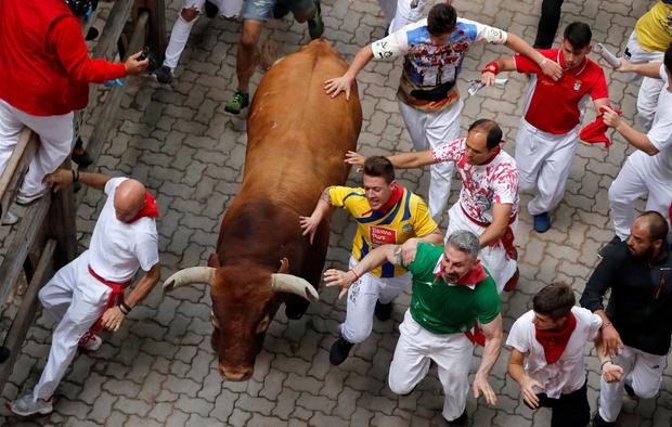 Revellers run during the running of the bulls at the San Fermin festival in Pamplona REUTERS/Susana Vera