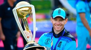 England Captain Eoin Morgan lifts the World Cup after victory for England during the Final of the ICC Cricket World Cup 2019 between New Zealand and England at Lord's Cricket Ground on July 14, 2019 in London, England. (Photo by Clive Mason/Getty Images)