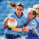 Dublin's Niamh McEvoy battling Waterford goalkeeper Rosie Landers during their All-Ireland Ladies SFC clash. Photo: Piaras Ó Mídheach/Sportsfile