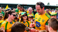 Donegal talisman Michael Murphy signs autographs after a game. Photo: Daire Brennan/Sportsfile