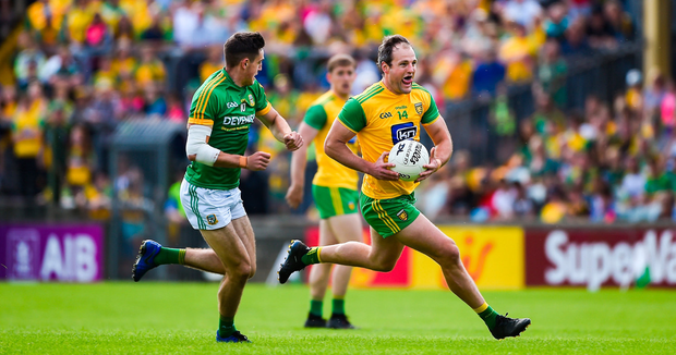 Donegal's Michael Murphy bursts past Meath's Ethan Devine during yesterday's Super 8s clash in Ballybofey. Photo: Daire Brennan/Sportsfile