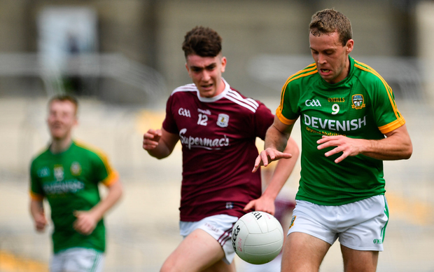 Meath's Danny Quinn of Meath in action against Thomas Gleeson of Galway. Photo: Brendan Moran/Sportsfile
