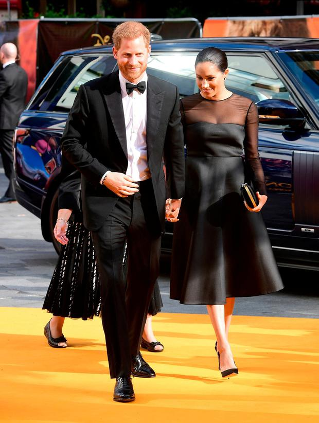 The Duke and Duchess of Sussex attending Disney's The Lion King European Premiere held in Leicester Square, London. Ian West/PA Wire
